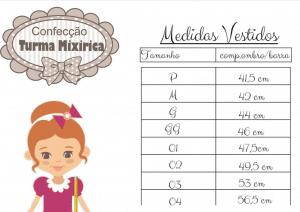 Tabela de Medidas Turma da Mixirica